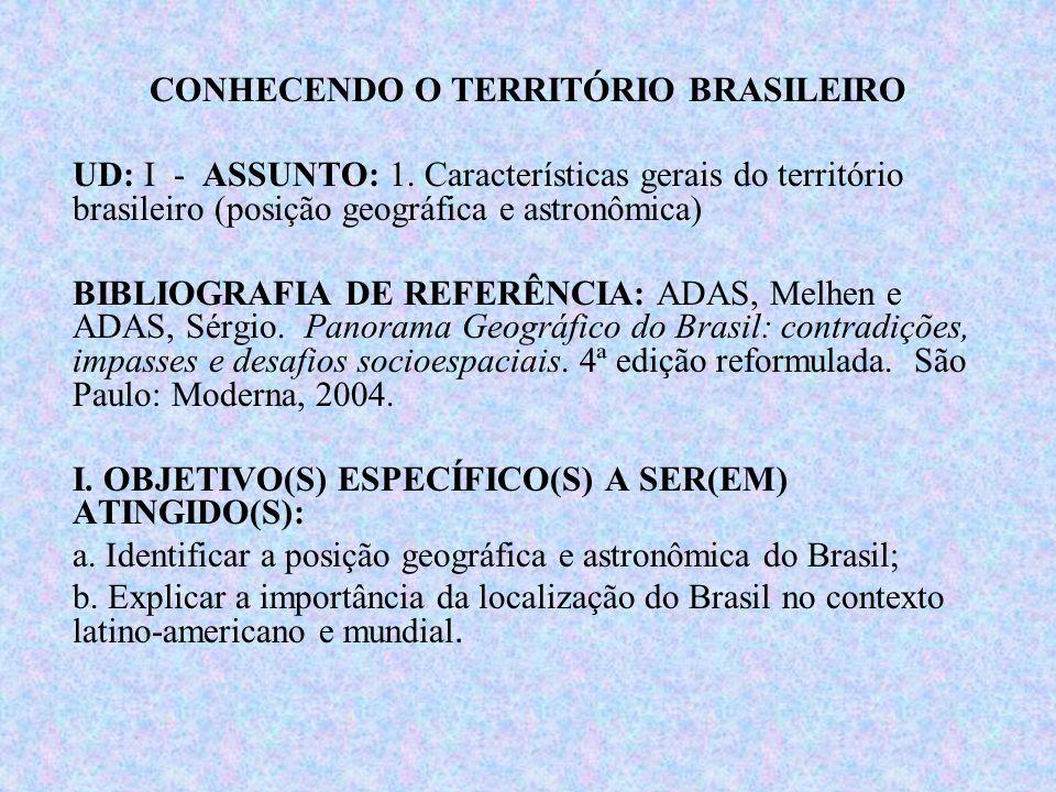 Brasil: posição geográfica e astronômica Brasil: 8.547.403 Km² (país continente) - Possíveis mudanças!!!.