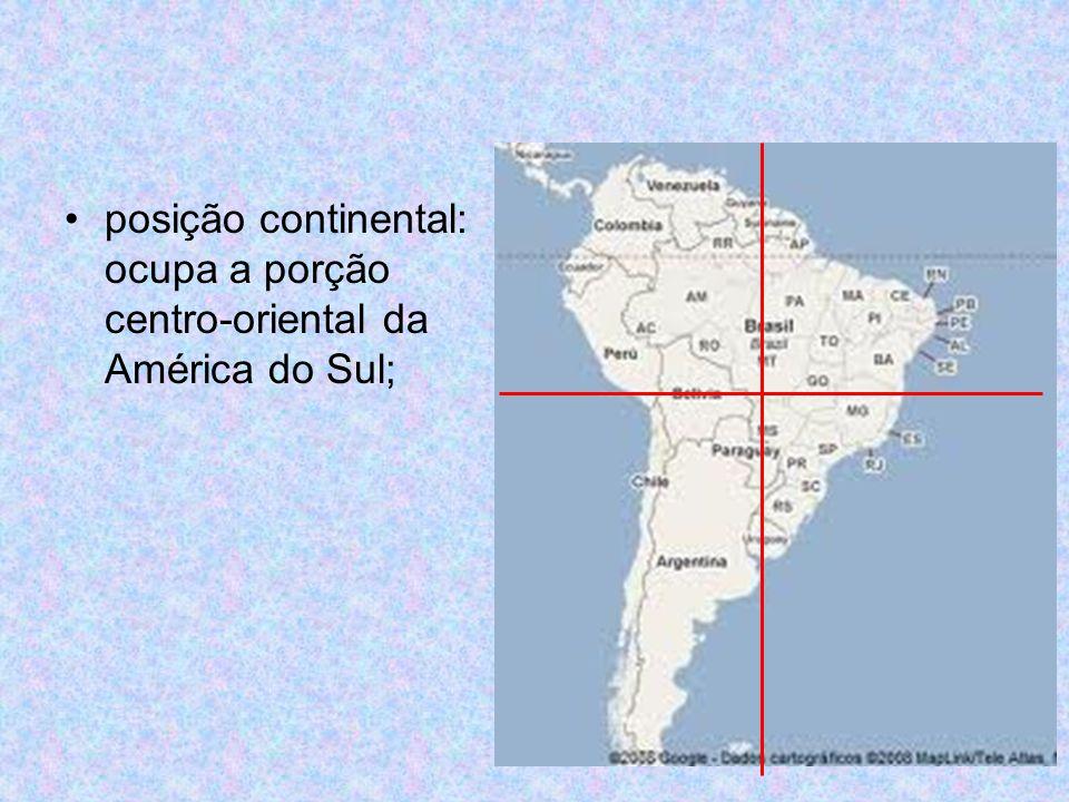 fronteiras: 7.367 Km marítimas e 15.719 Km terrestres; só não possui fronteiras com o Chile e o Equador; distâncias: 4.394 Km norte – sul e 4.319 Km leste - oeste