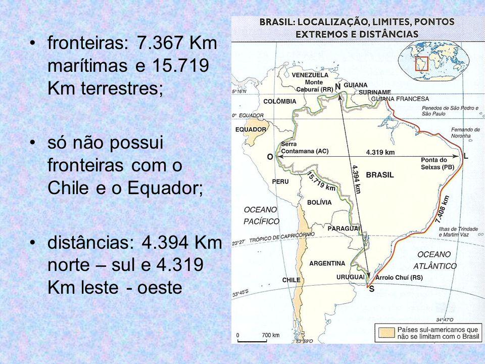 pontos extremos: Norte – nascente do Rio Ailã, no Monte Caburaí – RR – 5º 16 N; Sul – Arroio Chuí – RS – 33º 44 S; Leste – Ponta do Seixas – PB – 34º 47 O; Oeste – nascente do Rio Moa, na Serra da Contamana – AC – 73º 59 O.