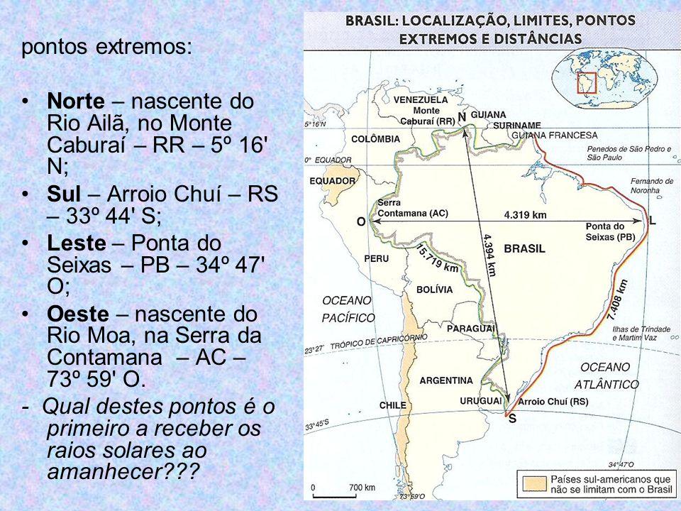Brasil – Fusos Horários a) até a Lei N° 11.662, de 24/04/2008: quatro fusos, todos a oeste (atrasados) do Meridiano de Greenwich – grande extensão leste – oeste; 1º fuso: - 2 h GMT: ilhas oceânicas; 2º fuso: - 3 h GMT: AP, GO, TO, DF, leste do PA, todos os estados das regiões NE, SE e S; 3º fuso: - 4 h GMT: RR, RO, MT, MS, oeste do PA e do AM (exceto extremo oeste); 4º fuso: - 5 h GMT: AC e estremo oeste do AM.