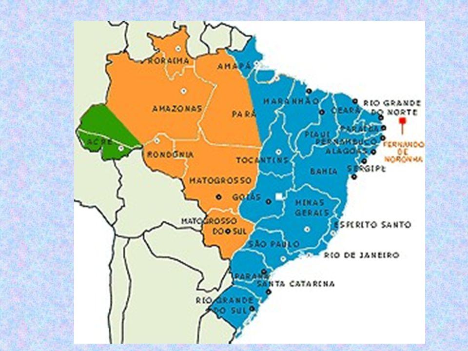 Brasil – Fusos Horários b) após a Lei N° 11.662, de 24/04/2008: três fusos, com a incorporação do AC e do extremo O do AM no fuso – 4; a incorporação da porção oeste do PA no fuso – 3 (fuso de Brasília); e manutenção do fuso -2, das ilhas oceânicas.