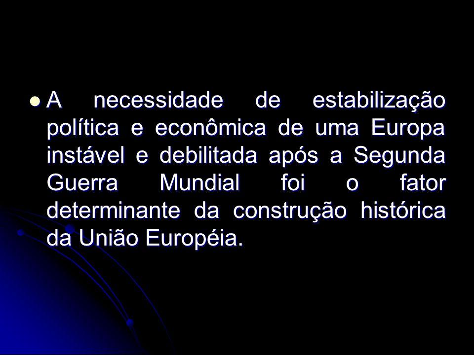 A necessidade de estabilização política e econômica de uma Europa instável e debilitada após a Segunda Guerra Mundial foi o fator determinante da cons