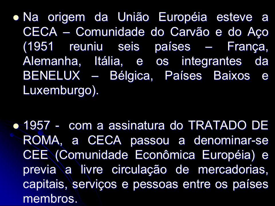 Na origem da União Européia esteve a CECA – Comunidade do Carvão e do Aço (1951 reuniu seis países – França, Alemanha, Itália, e os integrantes da BEN