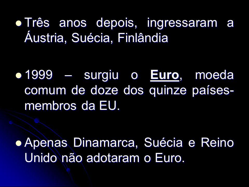 Três anos depois, ingressaram a Áustria, Suécia, Finlândia Três anos depois, ingressaram a Áustria, Suécia, Finlândia 1999 – surgiu o Euro, moeda comu