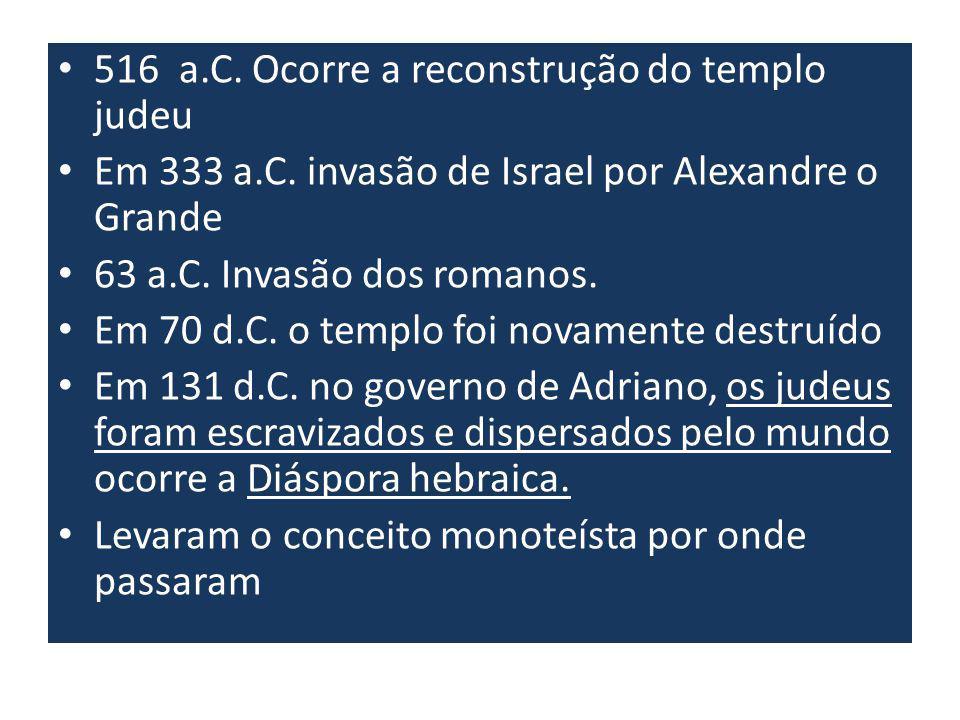 516 a.C.Ocorre a reconstrução do templo judeu Em 333 a.C.