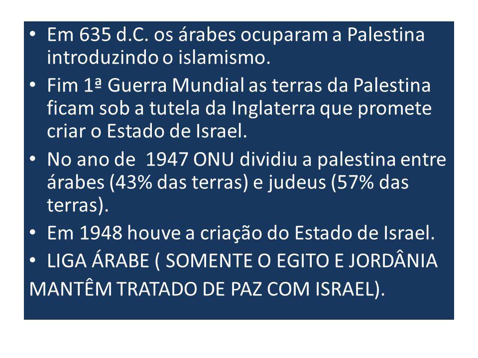 Em 635 d.C.os árabes ocuparam a Palestina introduzindo o islamismo.
