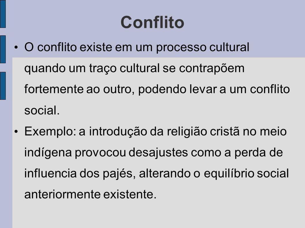 Conflito O conflito existe em um processo cultural quando um traço cultural se contrapõem fortemente ao outro, podendo levar a um conflito social. Exe