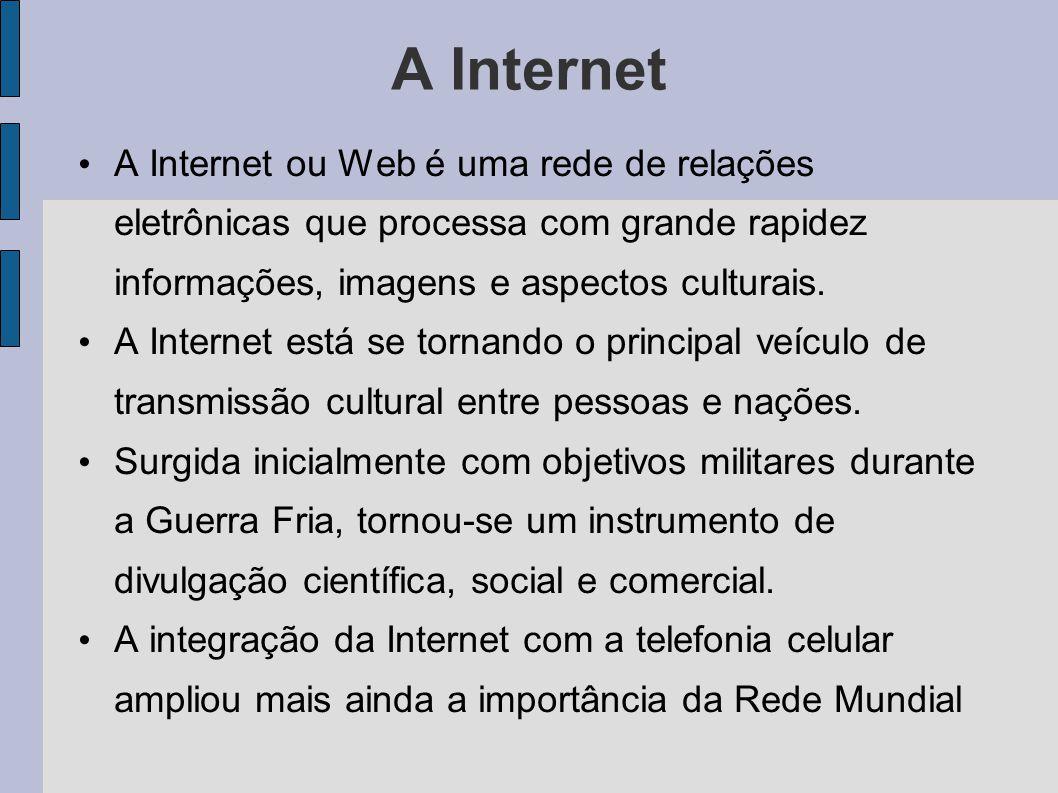 A Internet A Internet ou Web é uma rede de relações eletrônicas que processa com grande rapidez informações, imagens e aspectos culturais. A Internet