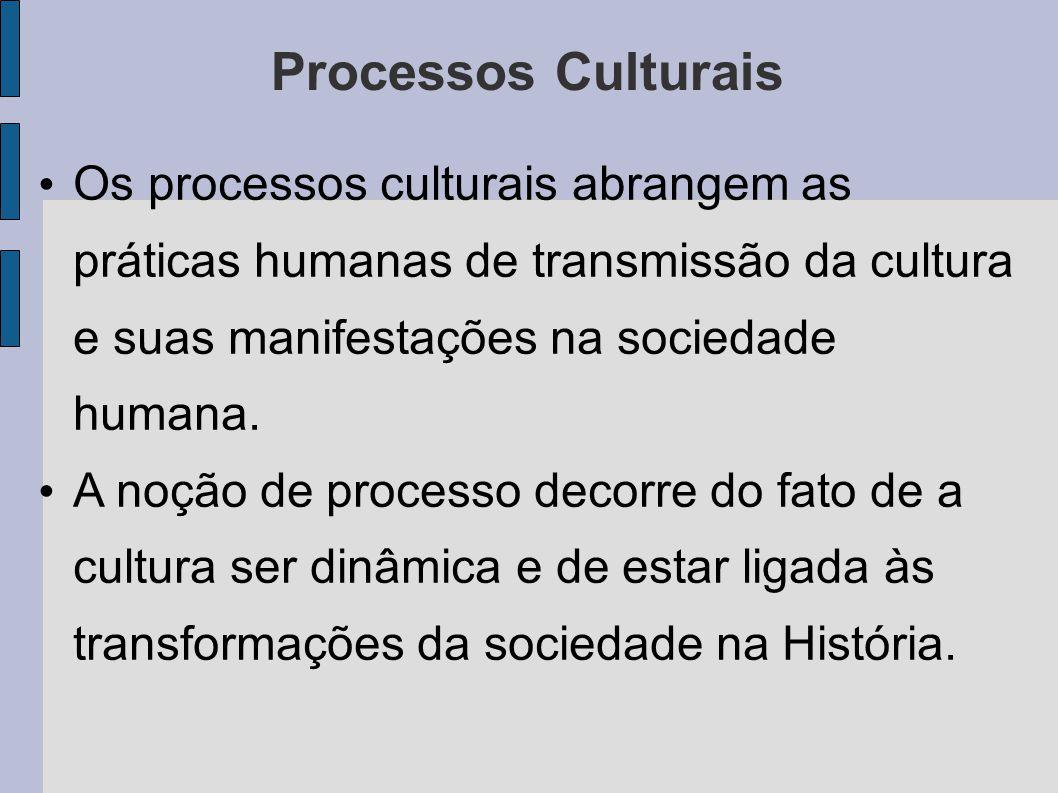 Processos Culturais Os processos culturais abrangem as práticas humanas de transmissão da cultura e suas manifestações na sociedade humana. A noção de