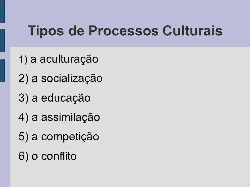 Tipos de Processos Culturais 1) a aculturação 2) a socialização 3) a educação 4) a assimilação 5) a competição 6) o conflito