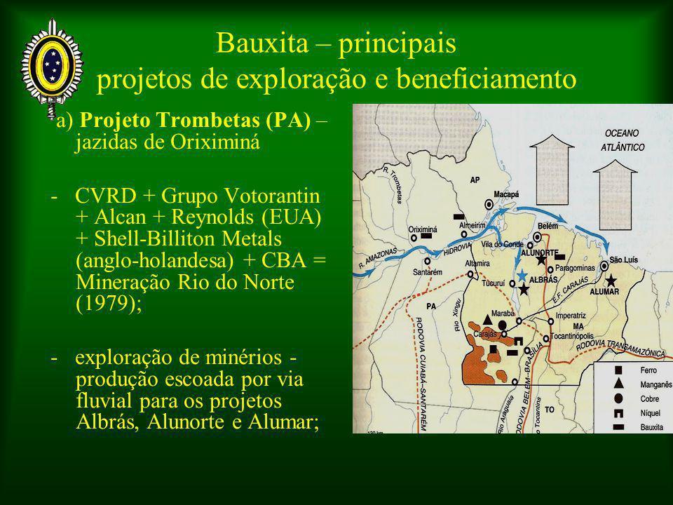 a) Projeto Trombetas (PA) – jazidas de Oriximiná - CVRD + Grupo Votorantin + Alcan + Reynolds (EUA) + Shell-Billiton Metals (anglo-holandesa) + CBA = Mineração Rio do Norte (1979); - exploração de minérios - produção escoada por via fluvial para os projetos Albrás, Alunorte e Alumar; Bauxita – principais projetos de exploração e beneficiamento