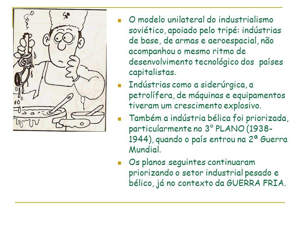 O modelo unilateral do industrialismo soviético, apoiado pelo tripé: indústrias de base, de armas e aeroespacial, não acompanhou o mesmo ritmo de desenvolvimento tecnológico dos países capitalistas.