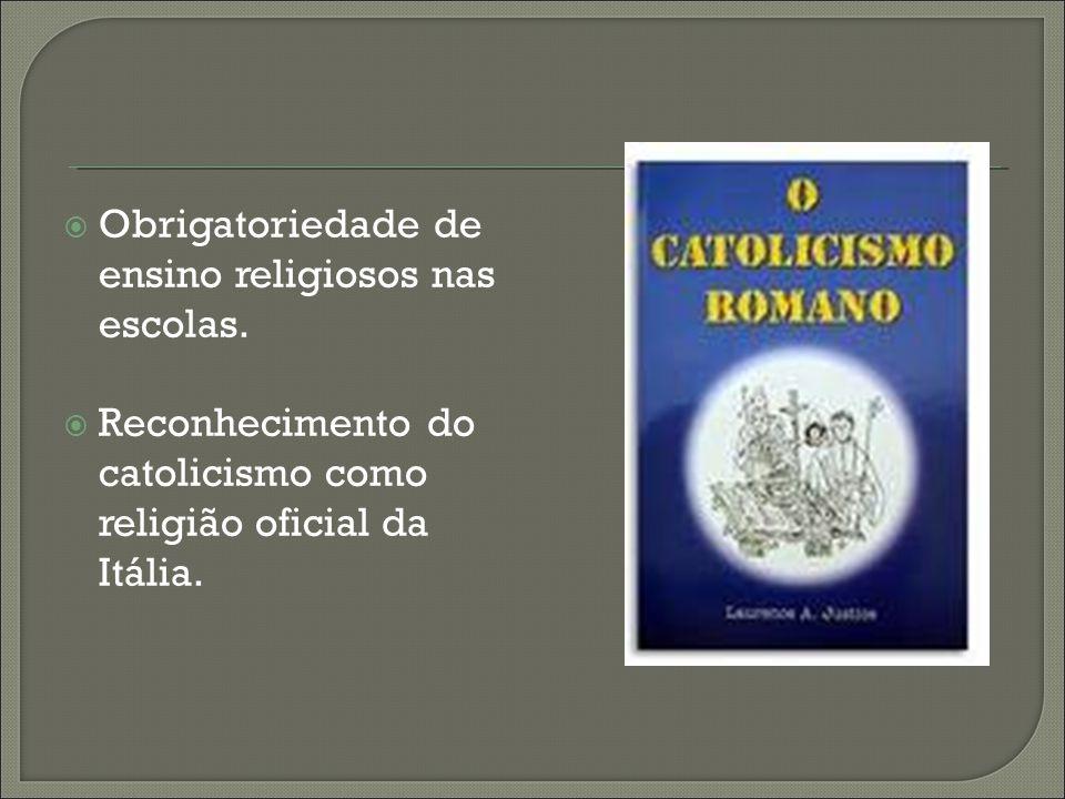 Acordo que resolve a questão de Roma. Criação do estado do vaticano. Pagamento de indenização à igreja pela perda dos estados pontifícios.