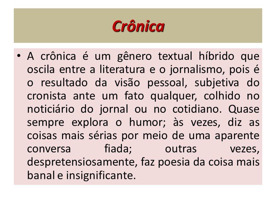 Crônica A crônica é um gênero textual híbrido que oscila entre a literatura e o jornalismo, pois é o resultado da visão pessoal, subjetiva do cronista