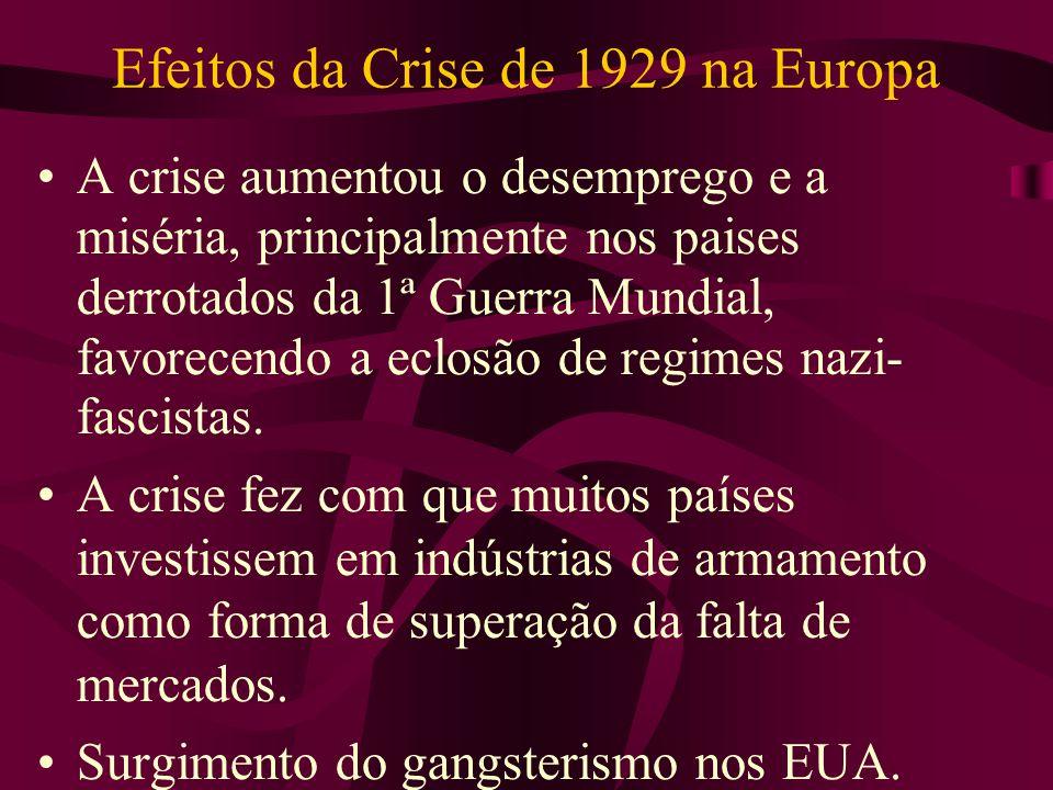 Efeitos da Crise de 1929 na Europa A crise aumentou o desemprego e a miséria, principalmente nos paises derrotados da 1ª Guerra Mundial, favorecendo a eclosão de regimes nazi- fascistas.
