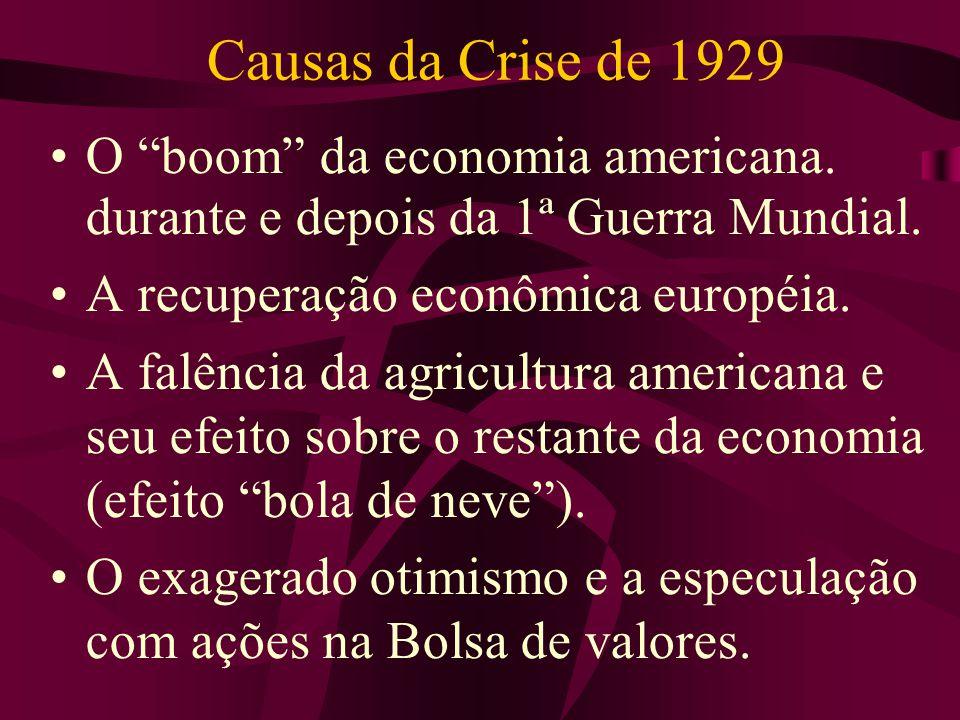 Causas da Crise de 1929 O boom da economia americana. durante e depois da 1ª Guerra Mundial. A recuperação econômica européia. A falência da agricultu