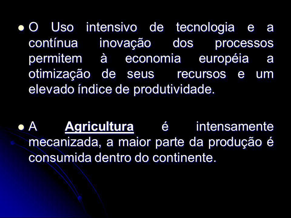 O Uso intensivo de tecnologia e a contínua inovação dos processos permitem à economia européia a otimização de seus recursos e um elevado índice de pr