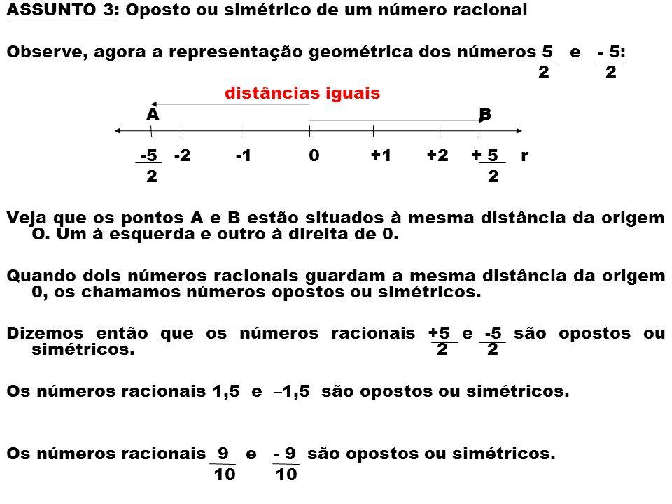 ASSUNTO 3: Oposto ou simétrico de um número racional Observe, agora a representação geométrica dos números 5 e - 5: 2 2 distâncias iguais A B -5 -2 -1 0 +1 +2 + 5 r 2 2 Veja que os pontos A e B estão situados à mesma distância da origem O.