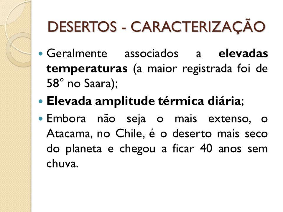 DESERTOS - CARACTERIZAÇÃO Geralmente associados a elevadas temperaturas (a maior registrada foi de 58° no Saara); Elevada amplitude térmica diária; Embora não seja o mais extenso, o Atacama, no Chile, é o deserto mais seco do planeta e chegou a ficar 40 anos sem chuva.