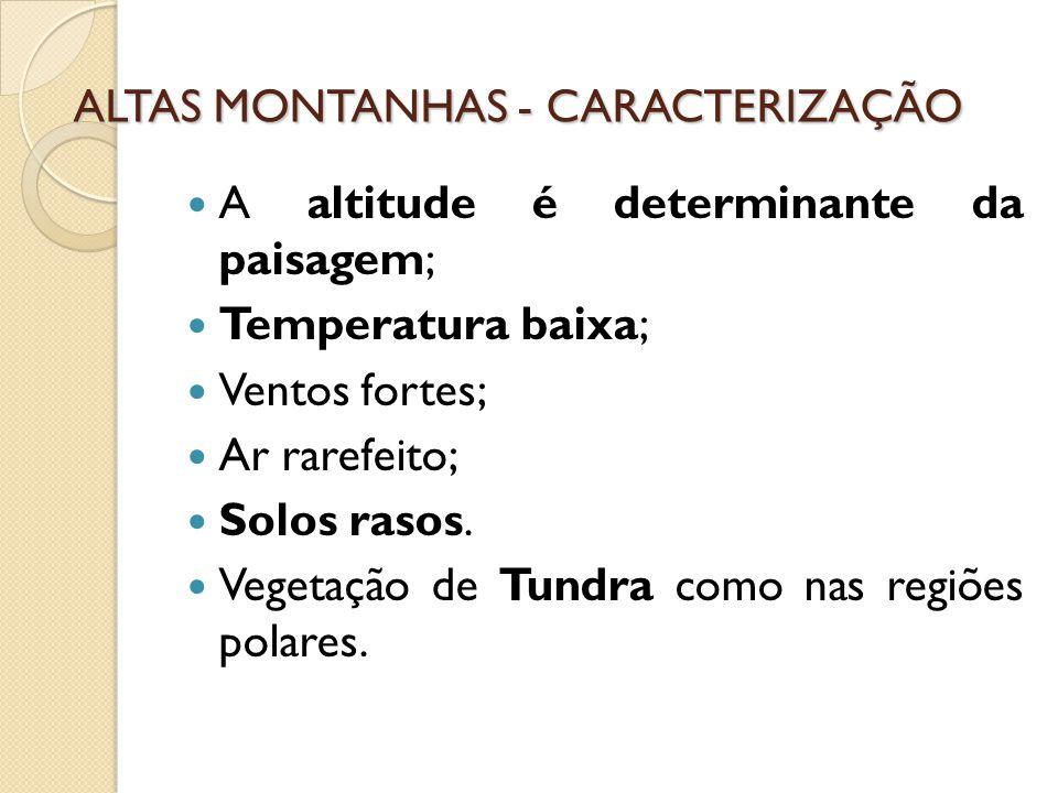 ALTAS MONTANHAS - CARACTERIZAÇÃO A altitude é determinante da paisagem; Temperatura baixa; Ventos fortes; Ar rarefeito; Solos rasos.