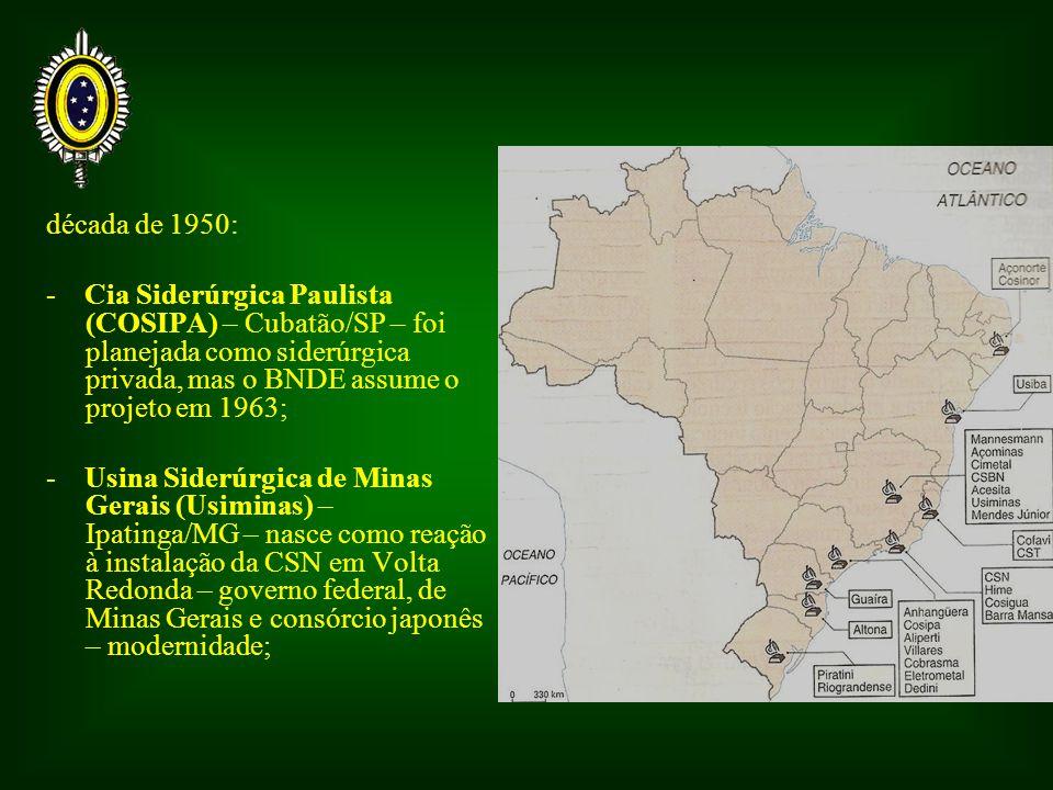 década de 1950: - Cia Siderúrgica Paulista (COSIPA) – Cubatão/SP – foi planejada como siderúrgica privada, mas o BNDE assume o projeto em 1963; - Usina Siderúrgica de Minas Gerais (Usiminas) – Ipatinga/MG – nasce como reação à instalação da CSN em Volta Redonda – governo federal, de Minas Gerais e consórcio japonês – modernidade;