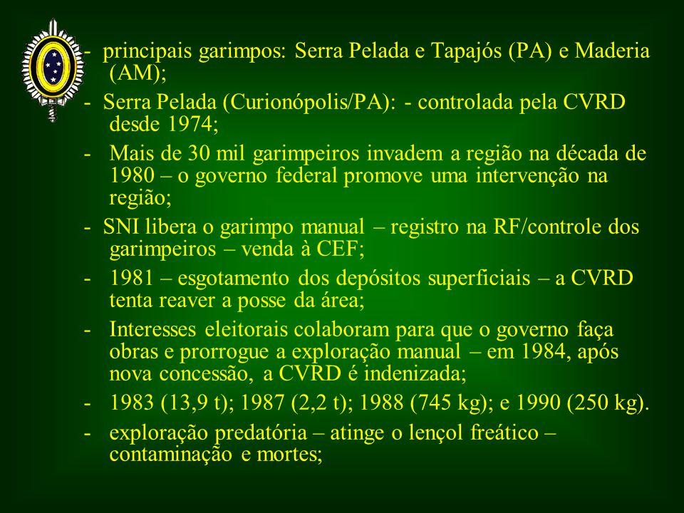 - principais garimpos: Serra Pelada e Tapajós (PA) e Maderia (AM); - Serra Pelada (Curionópolis/PA): - controlada pela CVRD desde 1974; -Mais de 30 mil garimpeiros invadem a região na década de 1980 – o governo federal promove uma intervenção na região; - SNI libera o garimpo manual – registro na RF/controle dos garimpeiros – venda à CEF; -1981 – esgotamento dos depósitos superficiais – a CVRD tenta reaver a posse da área; - Interesses eleitorais colaboram para que o governo faça obras e prorrogue a exploração manual – em 1984, após nova concessão, a CVRD é indenizada; -1983 (13,9 t); 1987 (2,2 t); 1988 (745 kg); e 1990 (250 kg).