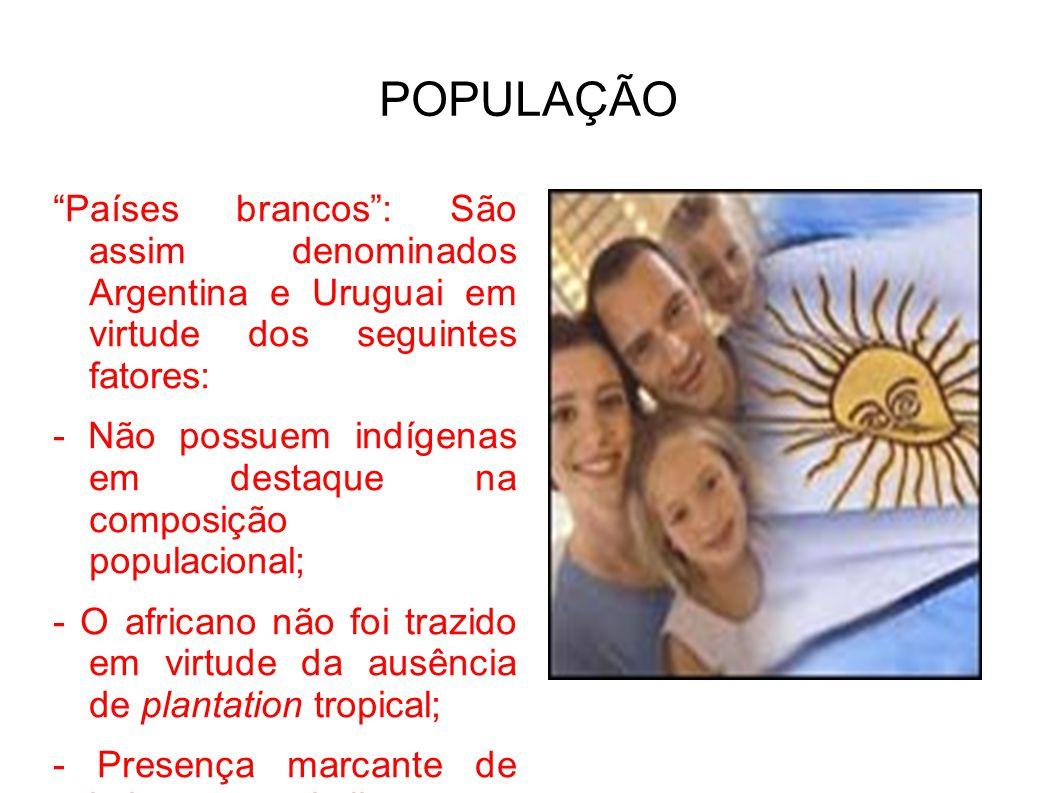 Países brancos: São assim denominados Argentina e Uruguai em virtude dos seguintes fatores: - Não possuem indígenas em destaque na composição populaci