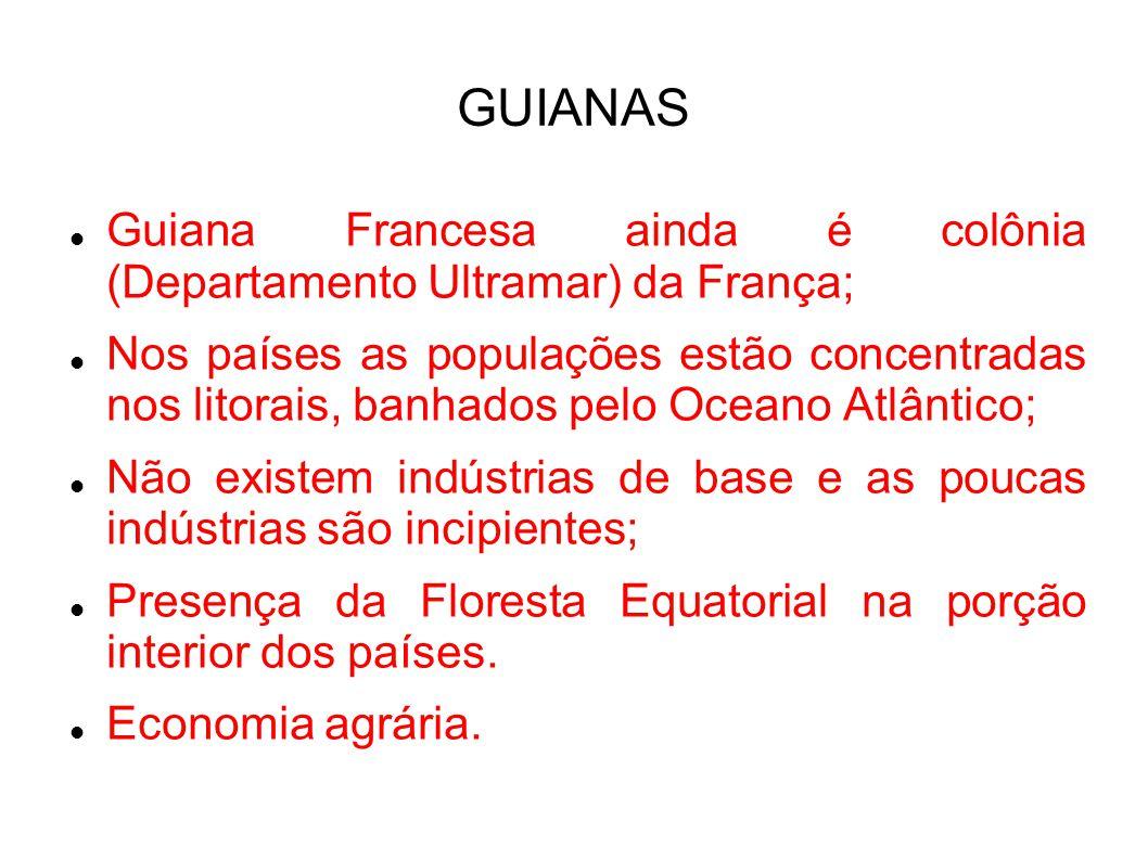 GUIANAS Guiana Francesa ainda é colônia (Departamento Ultramar) da França; Nos países as populações estão concentradas nos litorais, banhados pelo Oceano Atlântico; Não existem indústrias de base e as poucas indústrias são incipientes; Presença da Floresta Equatorial na porção interior dos países.