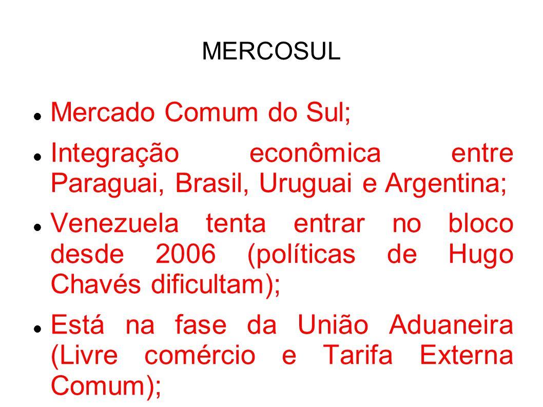 Mercado Comum do Sul; Integração econômica entre Paraguai, Brasil, Uruguai e Argentina; Venezuela tenta entrar no bloco desde 2006 (políticas de Hugo Chavés dificultam); Está na fase da União Aduaneira (Livre comércio e Tarifa Externa Comum);
