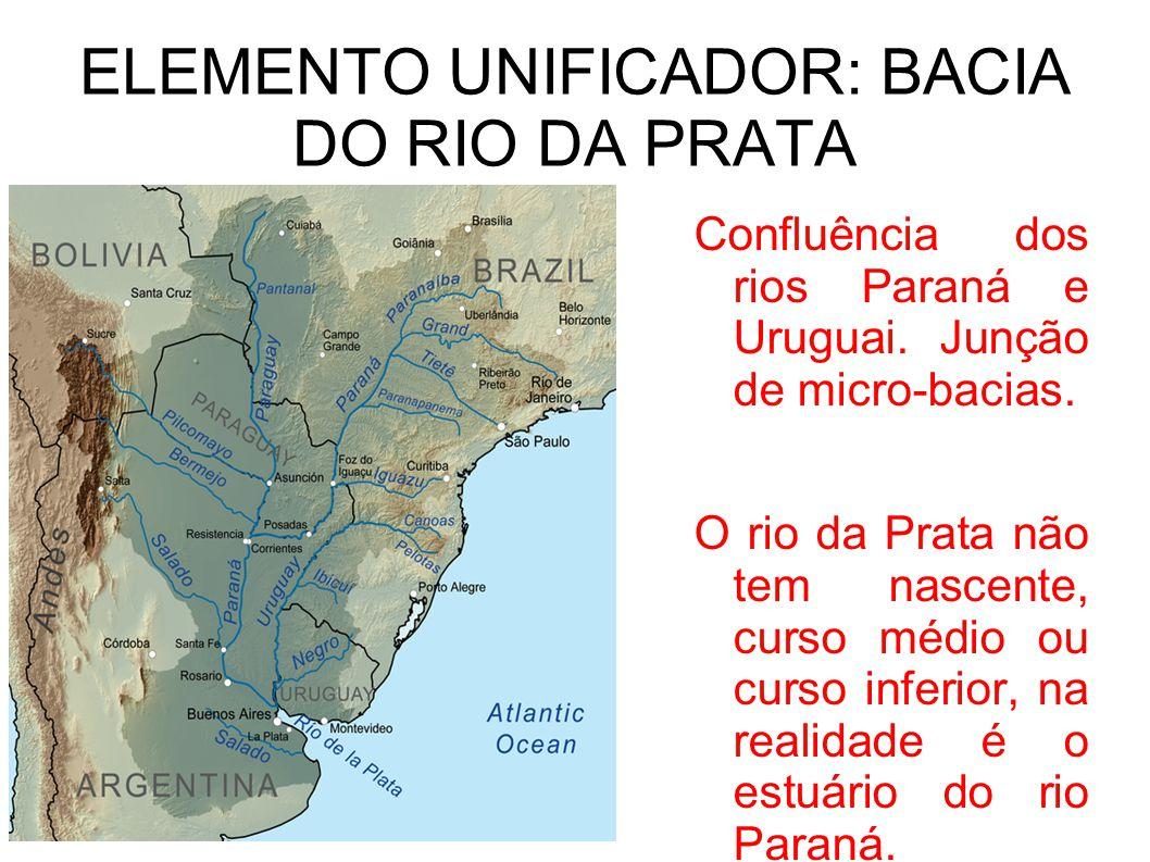 ELEMENTO UNIFICADOR: BACIA DO RIO DA PRATA Confluência dos rios Paraná e Uruguai. Junção de micro-bacias. O rio da Prata não tem nascente, curso médio