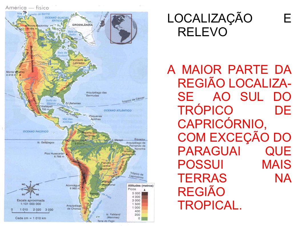 LOCALIZAÇÃO E RELEVO A MAIOR PARTE DA REGIÃO LOCALIZA- SE AO SUL DO TRÓPICO DE CAPRICÓRNIO, COM EXCEÇÃO DO PARAGUAI QUE POSSUI MAIS TERRAS NA REGIÃO TROPICAL.