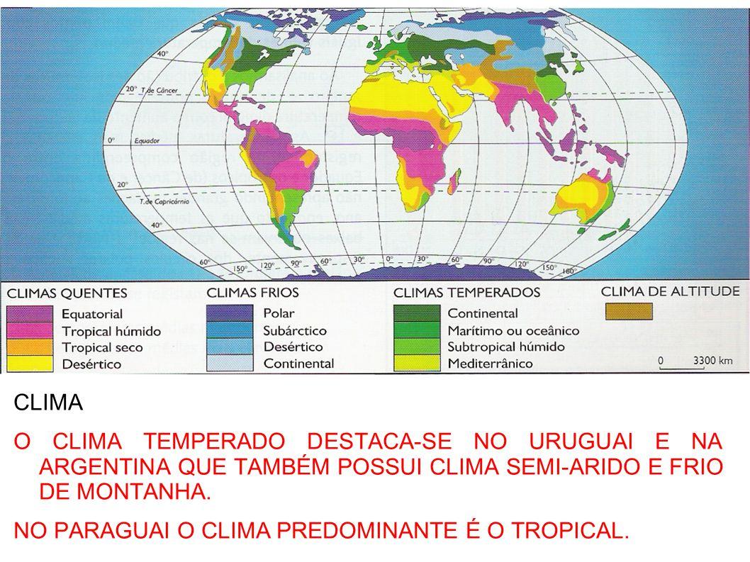 CLIMA O CLIMA TEMPERADO DESTACA-SE NO URUGUAI E NA ARGENTINA QUE TAMBÉM POSSUI CLIMA SEMI-ARIDO E FRIO DE MONTANHA. NO PARAGUAI O CLIMA PREDOMINANTE É