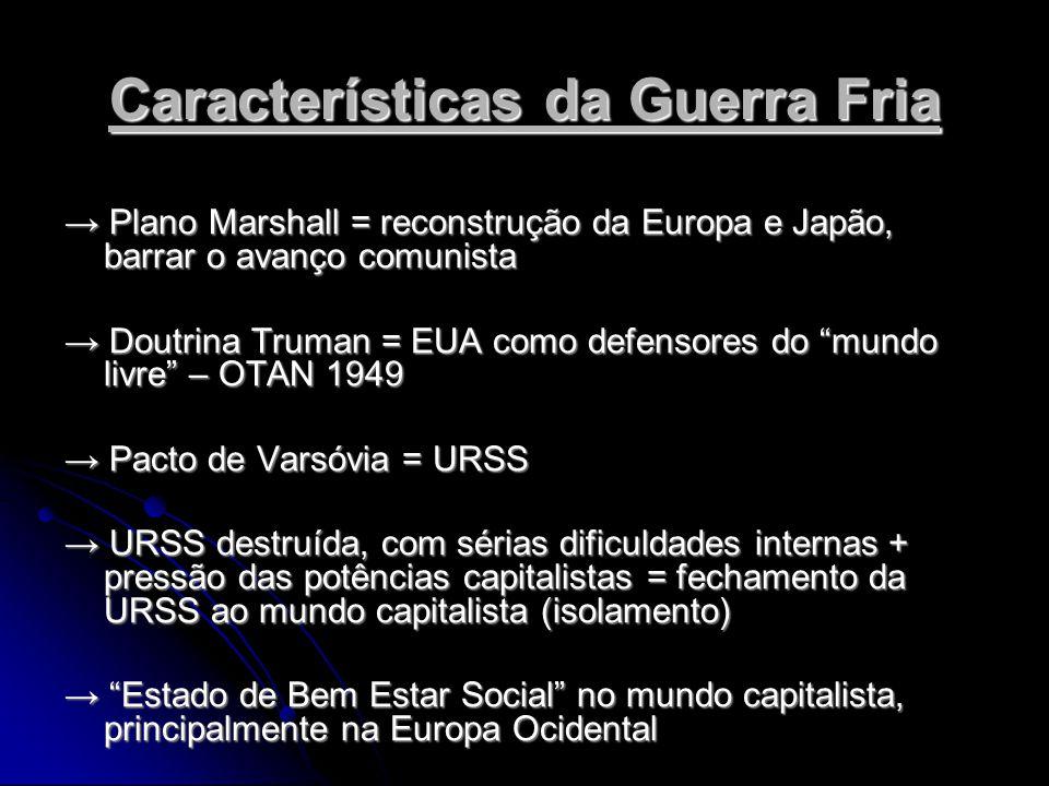 Características da Guerra Fria Plano Marshall = reconstrução da Europa e Japão, barrar o avanço comunista Plano Marshall = reconstrução da Europa e Japão, barrar o avanço comunista Doutrina Truman = EUA como defensores do mundo livre – OTAN 1949 Doutrina Truman = EUA como defensores do mundo livre – OTAN 1949 Pacto de Varsóvia = URSS Pacto de Varsóvia = URSS URSS destruída, com sérias dificuldades internas + pressão das potências capitalistas = fechamento da URSS ao mundo capitalista (isolamento) URSS destruída, com sérias dificuldades internas + pressão das potências capitalistas = fechamento da URSS ao mundo capitalista (isolamento) Estado de Bem Estar Social no mundo capitalista, principalmente na Europa Ocidental Estado de Bem Estar Social no mundo capitalista, principalmente na Europa Ocidental