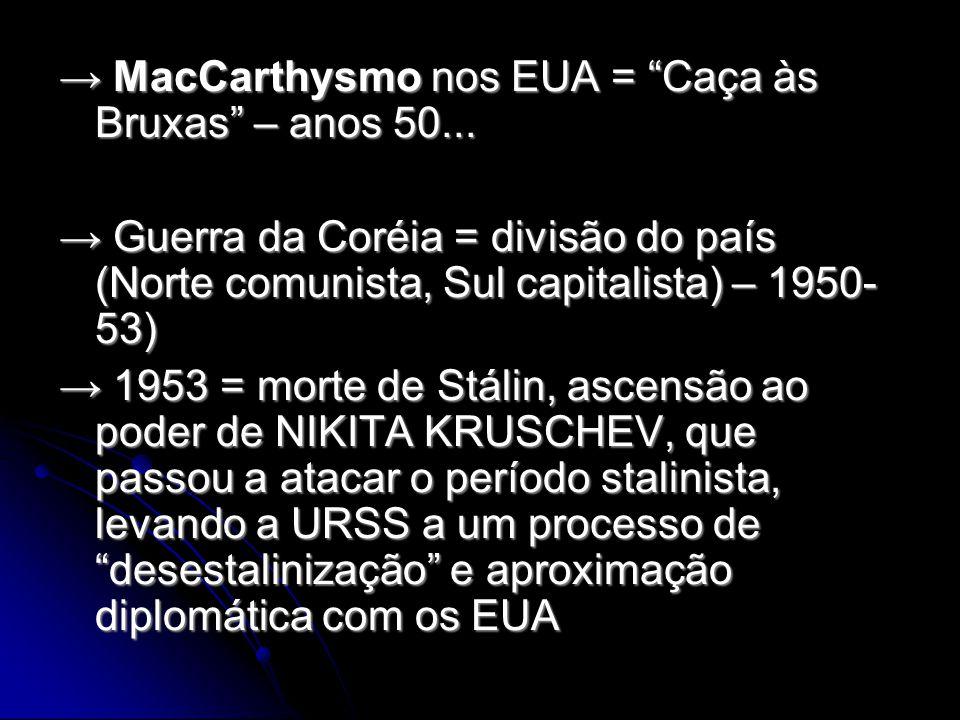 MacCarthysmo nos EUA = Caça às Bruxas – anos 50...