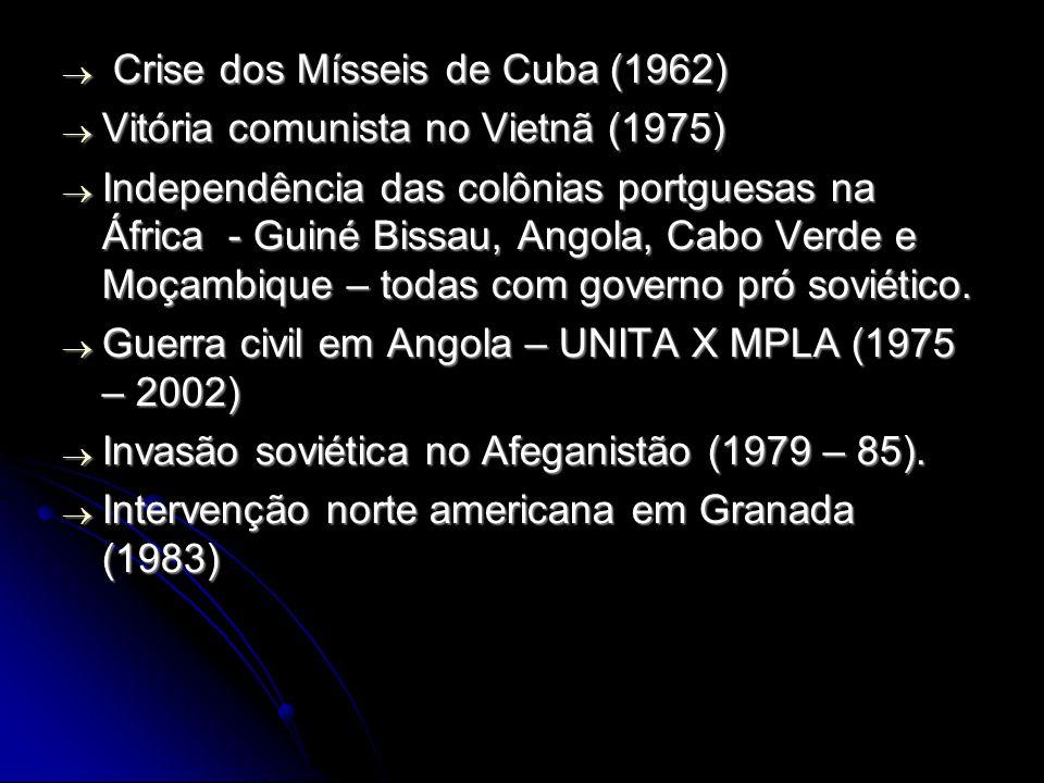 Crise dos Mísseis de Cuba (1962) Crise dos Mísseis de Cuba (1962) Vitória comunista no Vietnã (1975) Vitória comunista no Vietnã (1975) Independência das colônias portguesas na África - Guiné Bissau, Angola, Cabo Verde e Moçambique – todas com governo pró soviético.