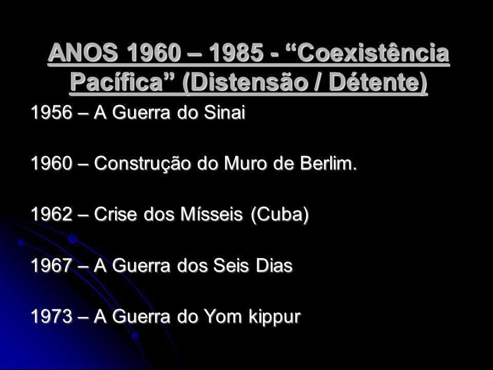ANOS 1960 – 1985 - Coexistência Pacífica (Distensão / Détente) 1956 – A Guerra do Sinai 1960 – Construção do Muro de Berlim.