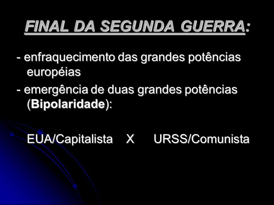 FINAL DA SEGUNDA GUERRA: - enfraquecimento das grandes potências européias - emergência de duas grandes potências (Bipolaridade): EUA/CapitalistaXURSS/Comunista