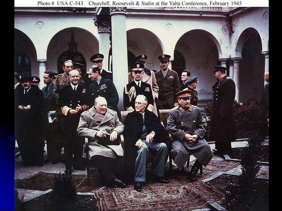 CONFERÊNCIAS: YALTA = EUA (Roosevelt) – URSS (Stalin) – Inglaterra (Churchill) YALTA = EUA (Roosevelt) – URSS (Stalin) – Inglaterra (Churchill) - consolidação do domínio da URSS sobre o leste europeu POTSDAM = divisão da Alemanha e de Berlim em quatro zonas de ocupação (URSS, EUA, França, Inglaterra) POTSDAM = divisão da Alemanha e de Berlim em quatro zonas de ocupação (URSS, EUA, França, Inglaterra)