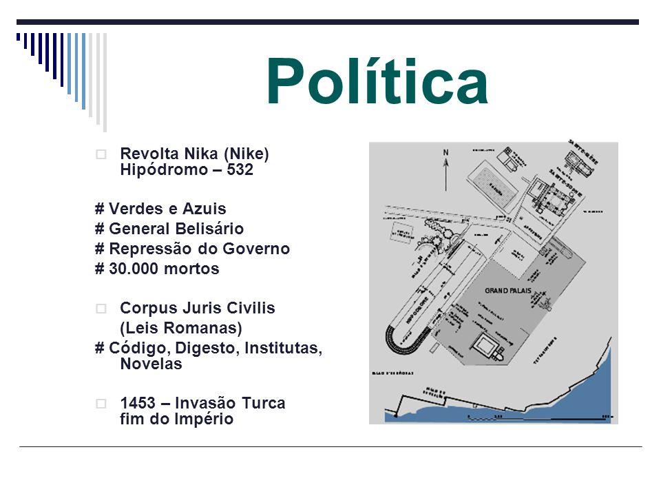 Política Revolta Nika (Nike) Hipódromo – 532 # Verdes e Azuis # General Belisário # Repressão do Governo # 30.000 mortos Corpus Juris Civilis (Leis Ro