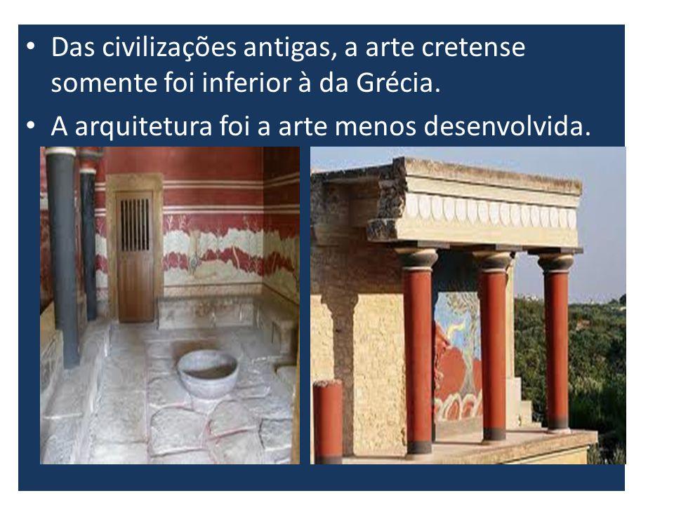 Das civilizações antigas, a arte cretense somente foi inferior à da Grécia. A arquitetura foi a arte menos desenvolvida.