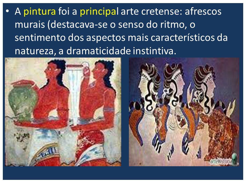 A pintura foi a principal arte cretense: afrescos murais (destacava-se o senso do ritmo, o sentimento dos aspectos mais característicos da natureza, a