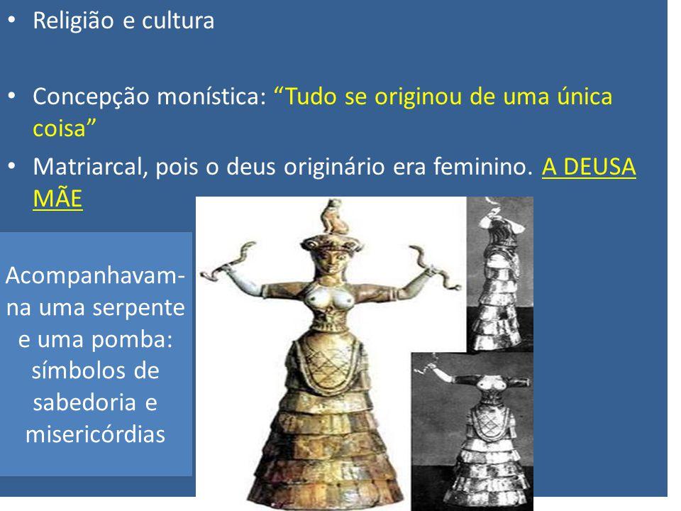 Religião e cultura Concepção monística: Tudo se originou de uma única coisa Matriarcal, pois o deus originário era feminino. A DEUSA MÃE Acompanhavam-