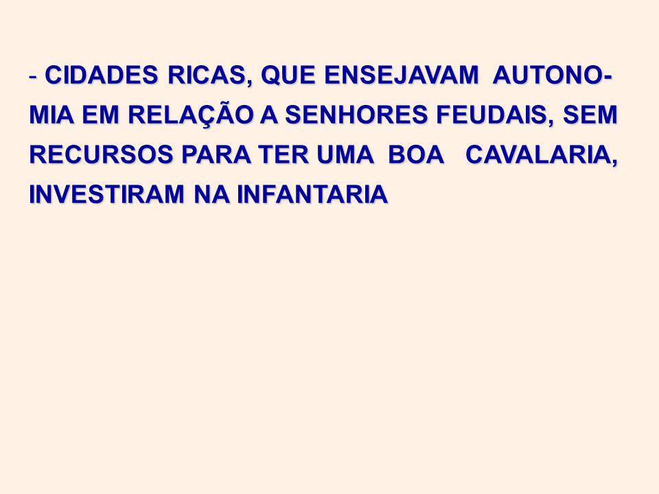 - CIDADES RICAS, QUE ENSEJAVAM AUTONO- MIA EM RELAÇÃO A SENHORES FEUDAIS, SEM RECURSOS PARA TER UMA BOA CAVALARIA, INVESTIRAM NA INFANTARIA