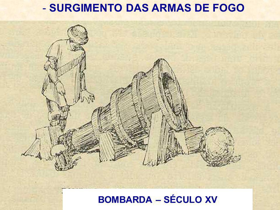 - SURGIMENTO DAS ARMAS DE FOGO BOMBARDA – SÉCULO XV