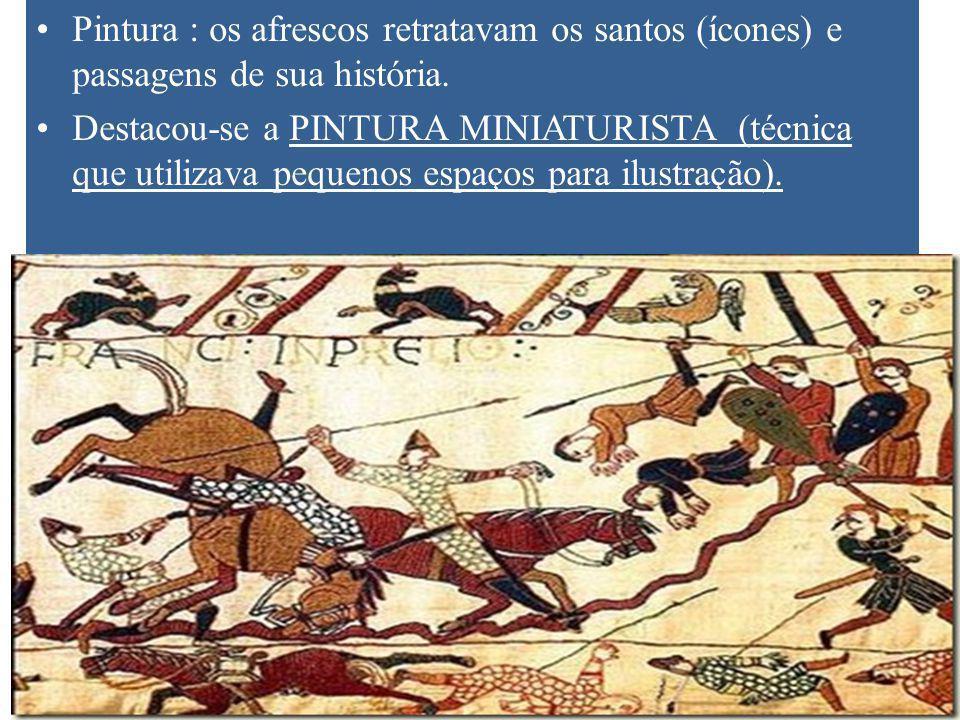 Pintura : os afrescos retratavam os santos (ícones) e passagens de sua história.