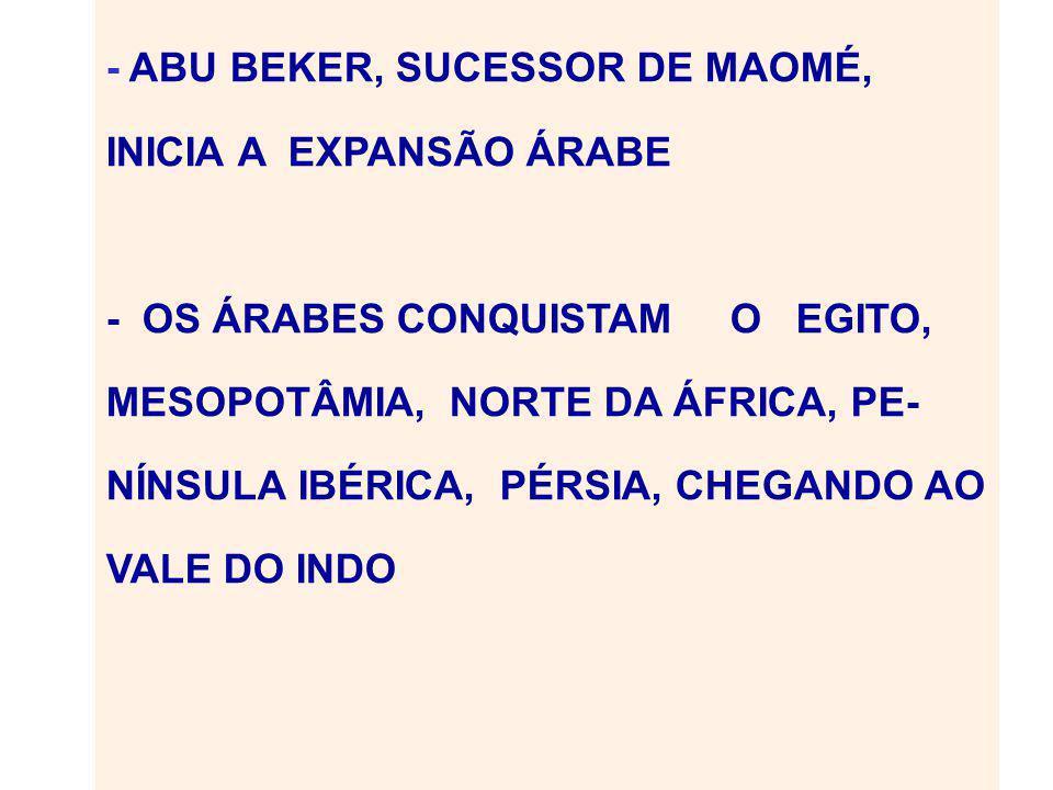 - ABU BEKER, SUCESSOR DE MAOMÉ, INICIA A EXPANSÃO ÁRABE - OS ÁRABES CONQUISTAM O EGITO, MESOPOTÂMIA, NORTE DA ÁFRICA, PE- NÍNSULA IBÉRICA, PÉRSIA, CHEGANDO AO VALE DO INDO