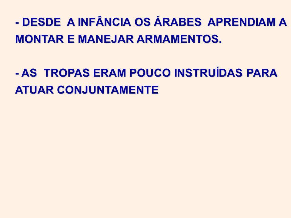 - DESDE A INFÂNCIA OS ÁRABES APRENDIAM A MONTAR E MANEJAR ARMAMENTOS.