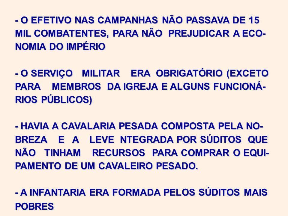 - O EFETIVO NAS CAMPANHAS NÃO PASSAVA DE 15 MIL COMBATENTES, PARA NÃO PREJUDICAR A ECO- NOMIA DO IMPÉRIO - O SERVIÇO MILITAR ERA OBRIGATÓRIO (EXCETO PARA MEMBROS DA IGREJA E ALGUNS FUNCIONÁ- RIOS PÚBLICOS) - HAVIA A CAVALARIA PESADA COMPOSTA PELA NO- BREZA E A LEVE NTEGRADA POR SÚDITOS QUE NÃO TINHAM RECURSOS PARA COMPRAR O EQUI- PAMENTO DE UM CAVALEIRO PESADO.