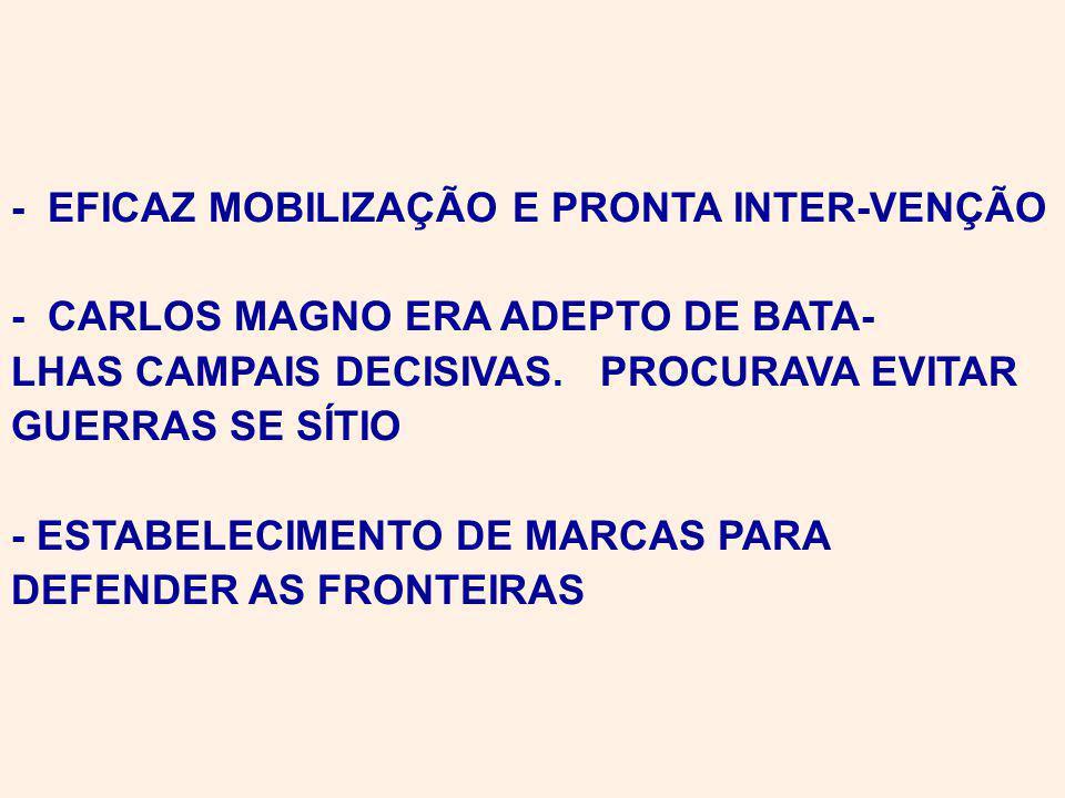 - EFICAZ MOBILIZAÇÃO E PRONTA INTER-VENÇÃO - CARLOS MAGNO ERA ADEPTO DE BATA- LHAS CAMPAIS DECISIVAS.