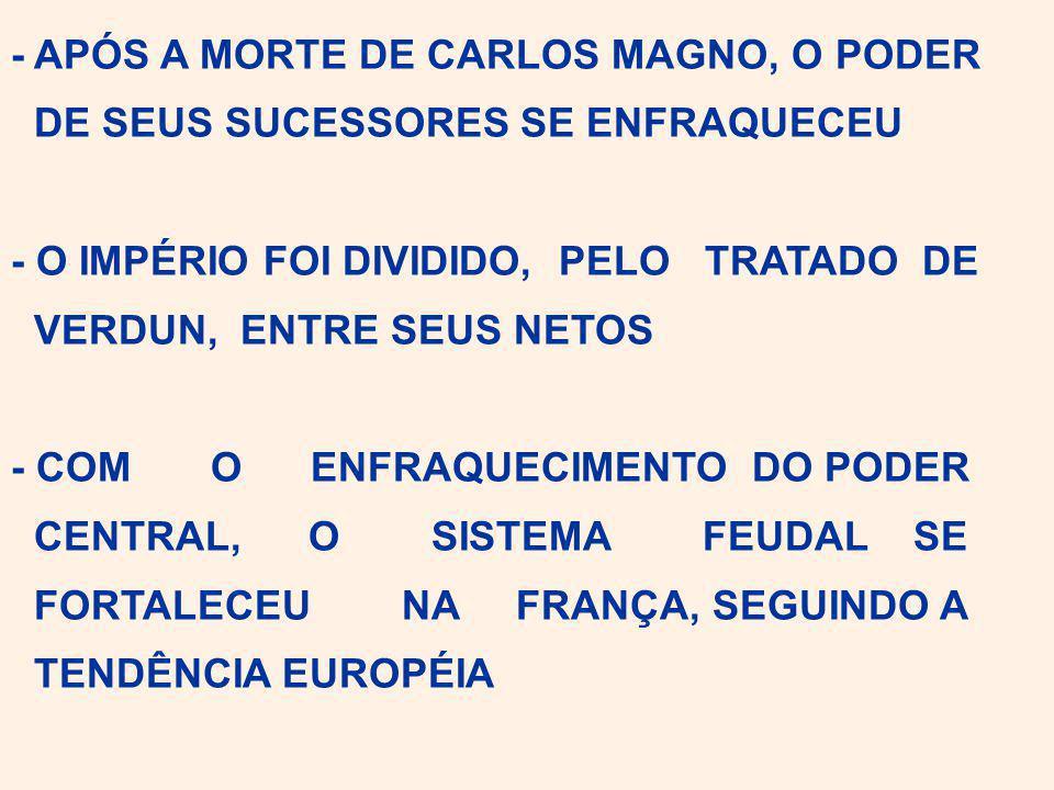 - APÓS A MORTE DE CARLOS MAGNO, O PODER DE SEUS SUCESSORES SE ENFRAQUECEU - O IMPÉRIO FOI DIVIDIDO, PELO TRATADO DE VERDUN, ENTRE SEUS NETOS - COM O ENFRAQUECIMENTO DO PODER CENTRAL, O SISTEMA FEUDAL SE FORTALECEU NA FRANÇA, SEGUINDO A TENDÊNCIA EUROPÉIA